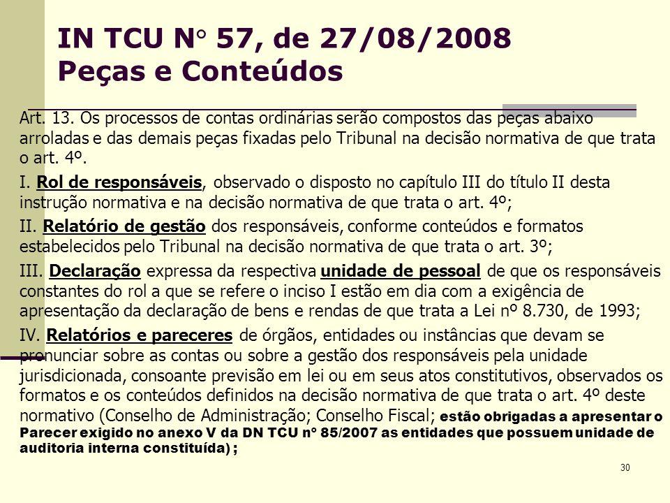30 IN TCU N° 57, de 27/08/2008 Peças e Conteúdos Art.