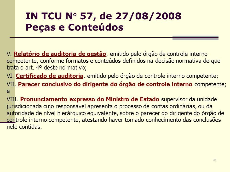 31 IN TCU N° 57, de 27/08/2008 Peças e Conteúdos V.