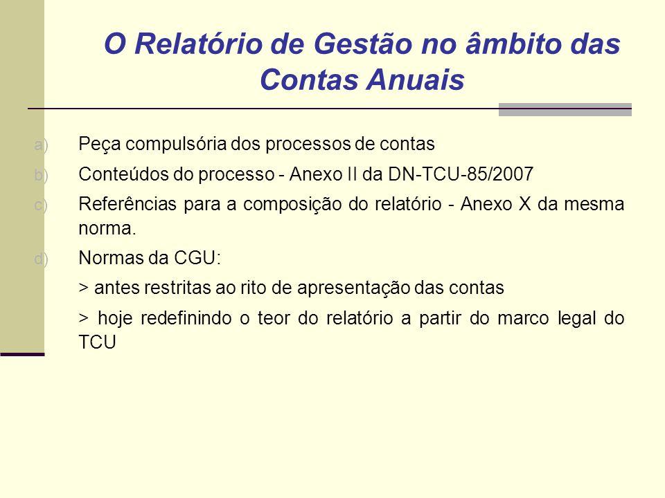 a) Peça compulsória dos processos de contas b) Conteúdos do processo - Anexo II da DN-TCU-85/2007 c) Referências para a composição do relatório - Anexo X da mesma norma.