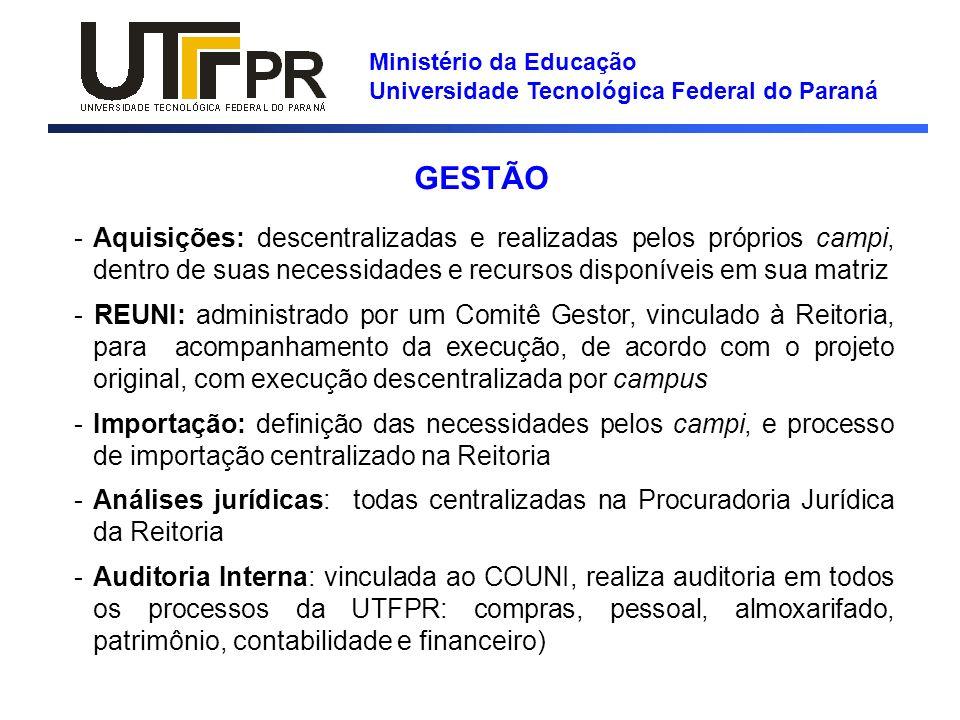 Ministério da Educação Universidade Tecnológica Federal do Paraná GESTÃO -Aquisições: descentralizadas e realizadas pelos próprios campi, dentro de su