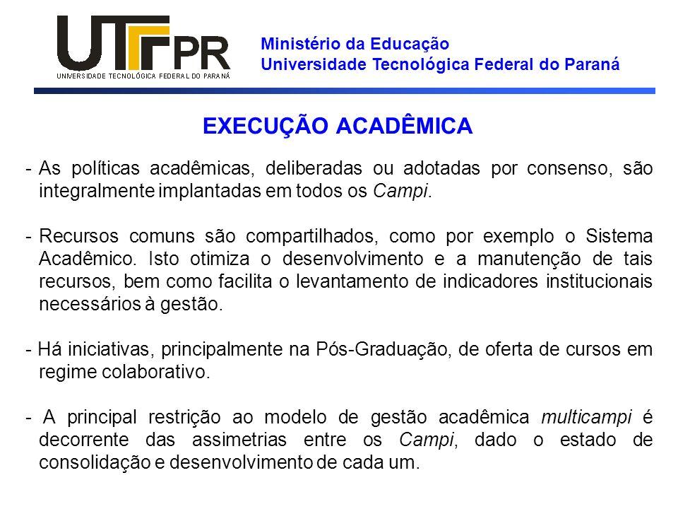 Ministério da Educação Universidade Tecnológica Federal do Paraná EXECUÇÃO ACADÊMICA -As políticas acadêmicas, deliberadas ou adotadas por consenso, s