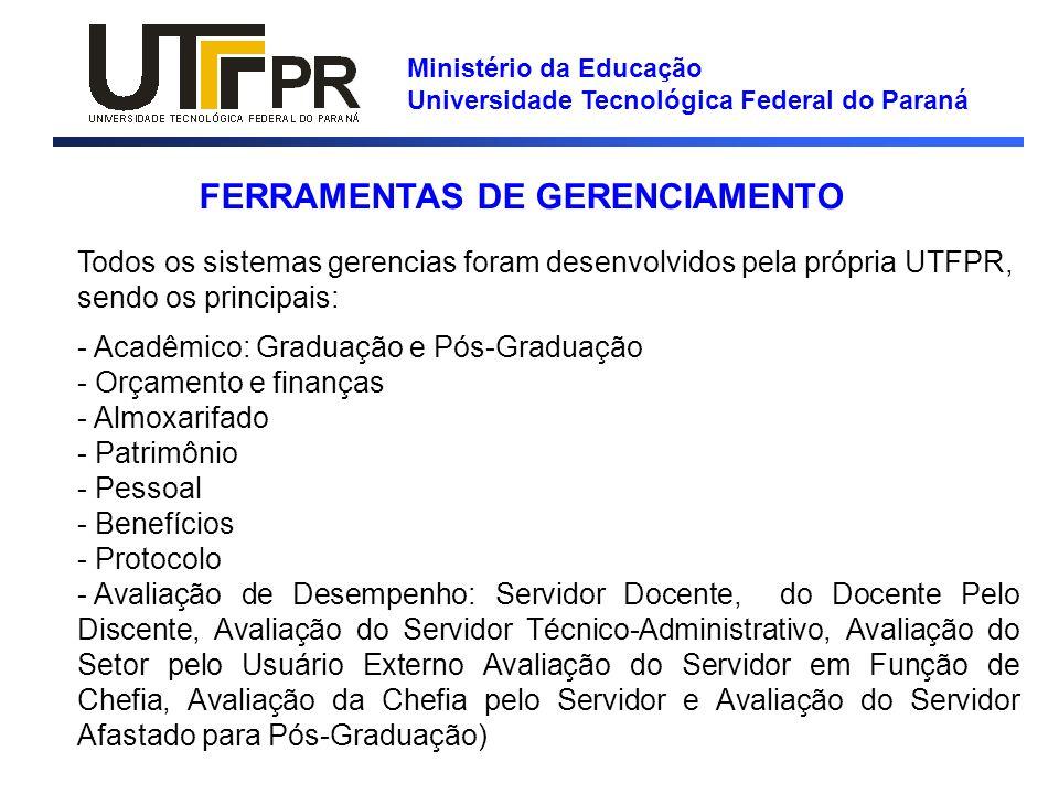 Ministério da Educação Universidade Tecnológica Federal do Paraná FERRAMENTAS DE GERENCIAMENTO Todos os sistemas gerencias foram desenvolvidos pela pr