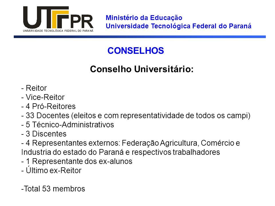Ministério da Educação Universidade Tecnológica Federal do Paraná Deliberativos especializados: - Conselho de Graduação e Educação Profissional -Conselho de Pesquisa e Pós-Graduação - Conselho de Relações Empresariais e Comunitárias - Conselho de Planejamento e Administração Fóruns Consultivos: - Fórum de Desenvolvimento da UTFPR; - Fórum dos Executivos dos Municípios; e - Fórum Empresarial e Comunitário CONSELHOS