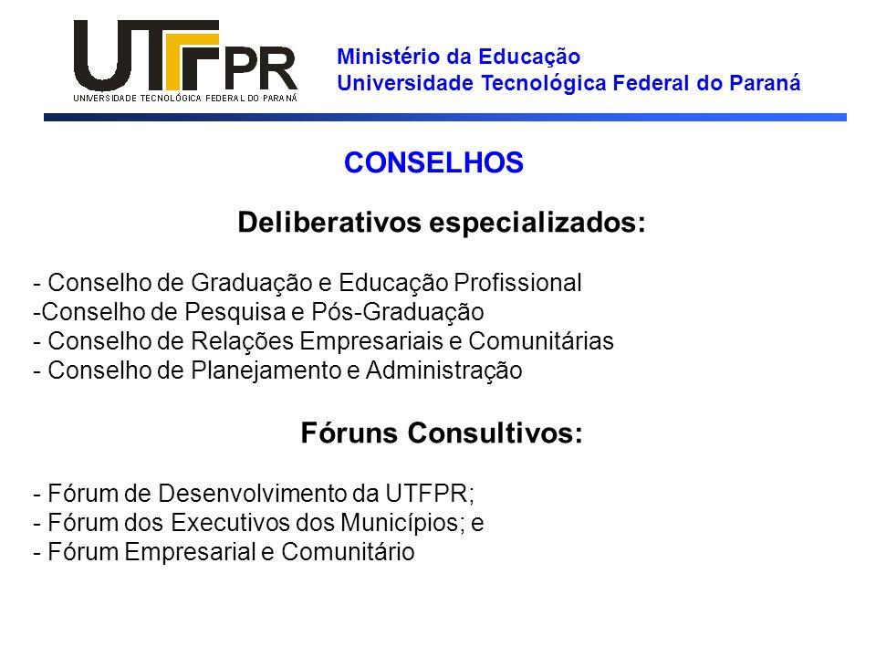 Ministério da Educação Universidade Tecnológica Federal do Paraná Deliberativos especializados: - Conselho de Graduação e Educação Profissional -Conse