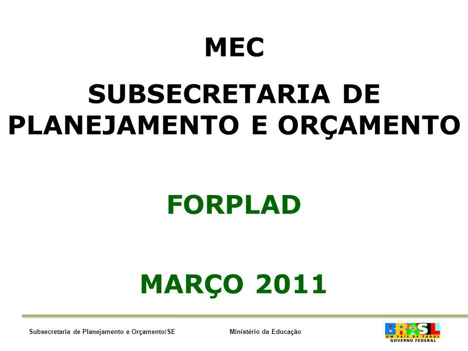 Ministério da EducaçãoSubsecretaria de Planejamento e Orçamento/SE MEC SUBSECRETARIA DE PLANEJAMENTO E ORÇAMENTO FORPLAD MARÇO 2011