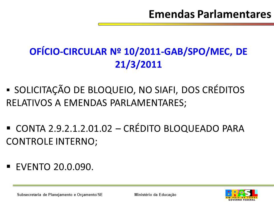 Ministério da EducaçãoSubsecretaria de Planejamento e Orçamento/SE Emendas Parlamentares OFÍCIO-CIRCULAR Nº 10/2011-GAB/SPO/MEC, DE 21/3/2011 SOLICITAÇÃO DE BLOQUEIO, NO SIAFI, DOS CRÉDITOS RELATIVOS A EMENDAS PARLAMENTARES; CONTA 2.9.2.1.2.01.02 – CRÉDITO BLOQUEADO PARA CONTROLE INTERNO; EVENTO 20.0.090.
