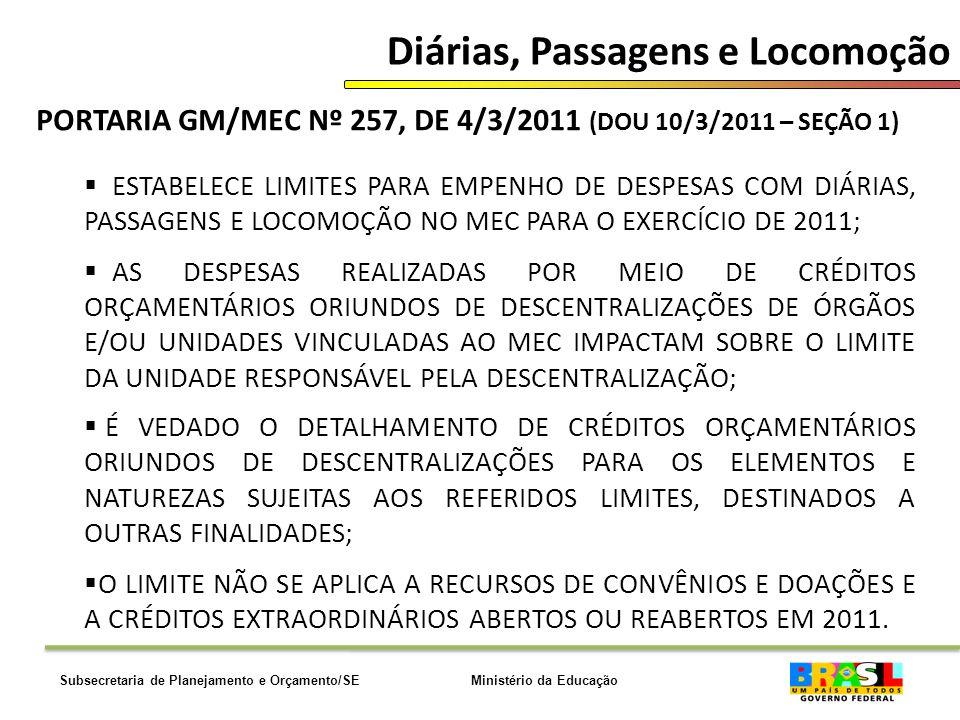 Ministério da EducaçãoSubsecretaria de Planejamento e Orçamento/SE Diárias, Passagens e Locomoção PORTARIA GM/MEC Nº 257, DE 4/3/2011 (DOU 10/3/2011 – SEÇÃO 1) ESTABELECE LIMITES PARA EMPENHO DE DESPESAS COM DIÁRIAS, PASSAGENS E LOCOMOÇÃO NO MEC PARA O EXERCÍCIO DE 2011; AS DESPESAS REALIZADAS POR MEIO DE CRÉDITOS ORÇAMENTÁRIOS ORIUNDOS DE DESCENTRALIZAÇÕES DE ÓRGÃOS E/OU UNIDADES VINCULADAS AO MEC IMPACTAM SOBRE O LIMITE DA UNIDADE RESPONSÁVEL PELA DESCENTRALIZAÇÃO; É VEDADO O DETALHAMENTO DE CRÉDITOS ORÇAMENTÁRIOS ORIUNDOS DE DESCENTRALIZAÇÕES PARA OS ELEMENTOS E NATUREZAS SUJEITAS AOS REFERIDOS LIMITES, DESTINADOS A OUTRAS FINALIDADES; O LIMITE NÃO SE APLICA A RECURSOS DE CONVÊNIOS E DOAÇÕES E A CRÉDITOS EXTRAORDINÁRIOS ABERTOS OU REABERTOS EM 2011.
