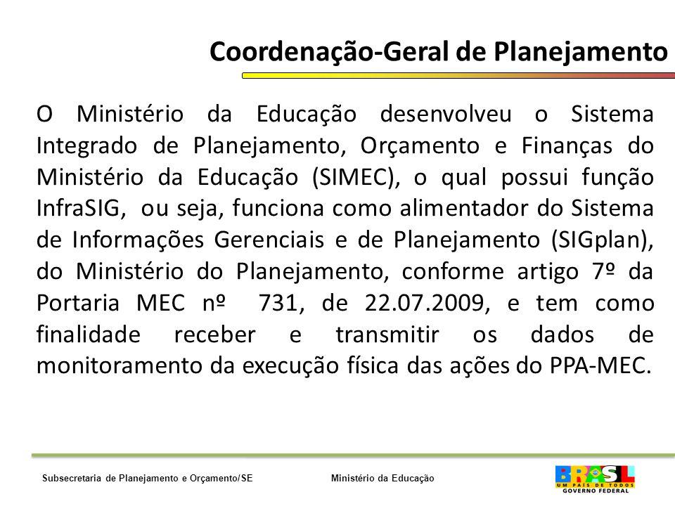 Ministério da EducaçãoSubsecretaria de Planejamento e Orçamento/SE Coordenação-Geral de Planejamento O Ministério da Educação desenvolveu o Sistema Integrado de Planejamento, Orçamento e Finanças do Ministério da Educação (SIMEC), o qual possui função InfraSIG, ou seja, funciona como alimentador do Sistema de Informações Gerenciais e de Planejamento (SIGplan), do Ministério do Planejamento, conforme artigo 7º da Portaria MEC nº 731, de 22.07.2009, e tem como finalidade receber e transmitir os dados de monitoramento da execução física das ações do PPA-MEC.