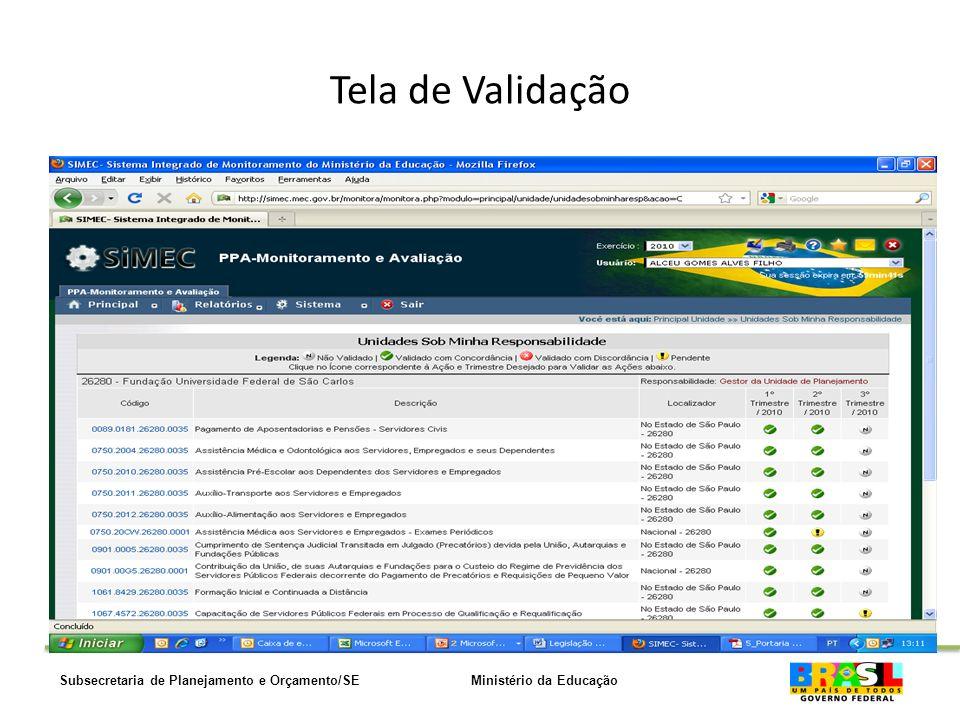 Ministério da EducaçãoSubsecretaria de Planejamento e Orçamento/SE Tela de Validação