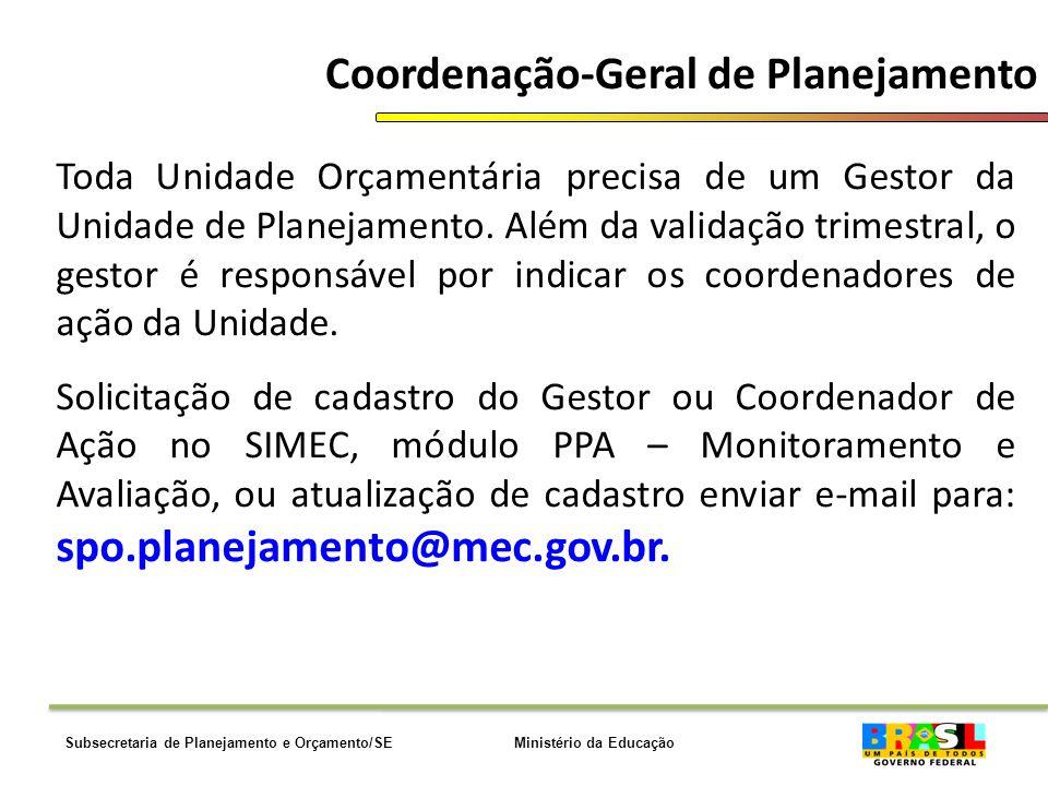 Ministério da EducaçãoSubsecretaria de Planejamento e Orçamento/SE Coordenação-Geral de Planejamento Toda Unidade Orçamentária precisa de um Gestor da Unidade de Planejamento.