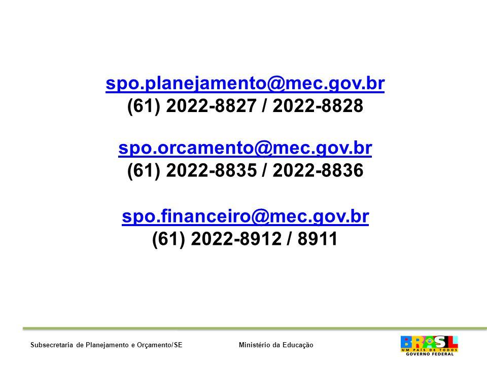 Ministério da EducaçãoSubsecretaria de Planejamento e Orçamento/SE spo.orcamento@mec.gov.bro.orcamento@mec.gov.br (61) 2022-8835 / 2022-8836 spo.financeiro@mec.gov.brpo.financeiro@mec.gov.br (61) 2022-8912 / 8911 spo.planejamento@mec.gov.br (61) 2022-8827 / 2022-8828