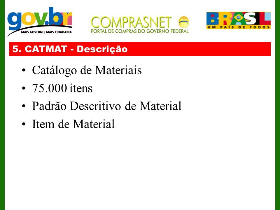 5. CATMAT - Descrição Catálogo de Materiais 75.000 itens Padrão Descritivo de Material Item de Material