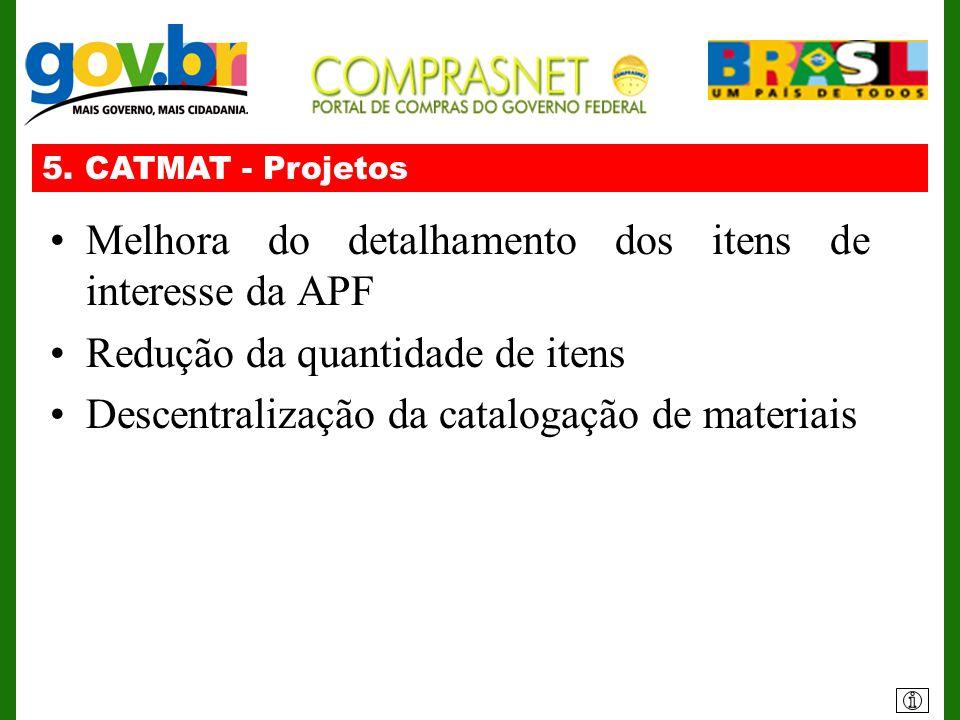 5. CATMAT - Projetos Melhora do detalhamento dos itens de interesse da APF Redução da quantidade de itens Descentralização da catalogação de materiais