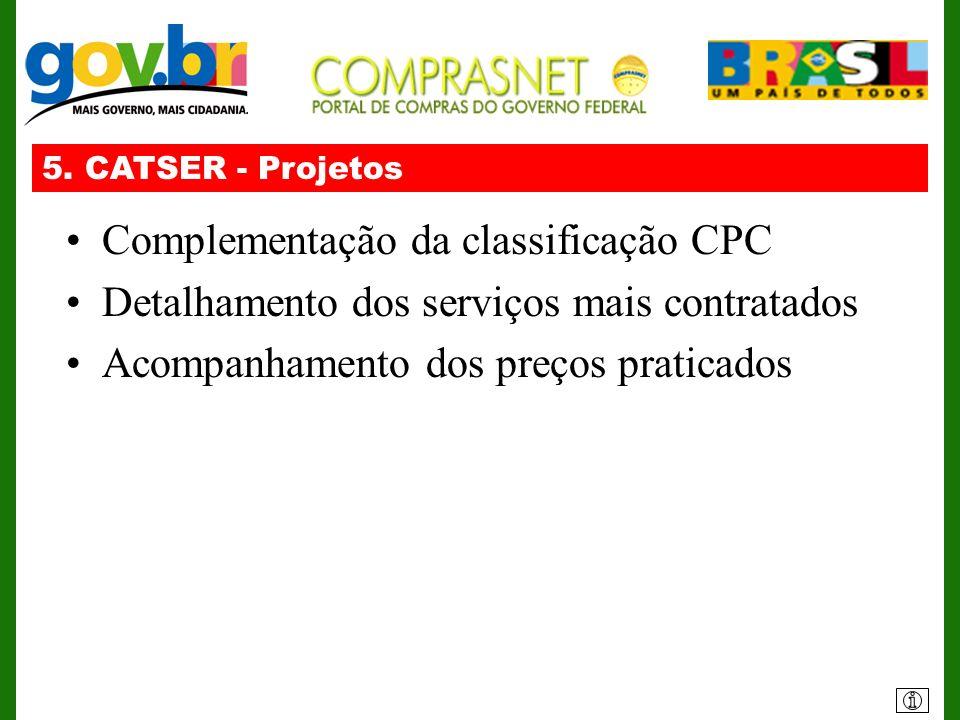 5. CATSER - Projetos Complementação da classificação CPC Detalhamento dos serviços mais contratados Acompanhamento dos preços praticados