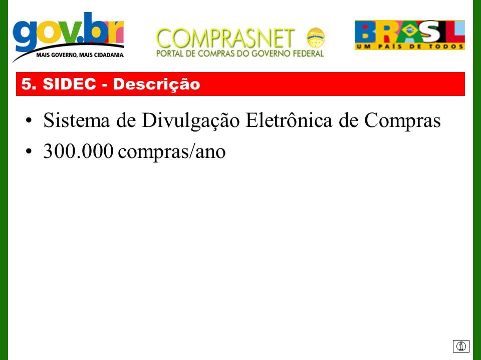 5. SIDEC - Descrição Sistema de Divulgação Eletrônica de Compras 300.000 compras/ano