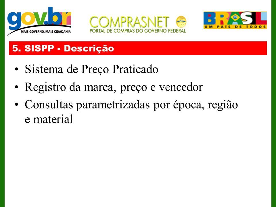 5. SISPP - Descrição Sistema de Preço Praticado Registro da marca, preço e vencedor Consultas parametrizadas por época, região e material