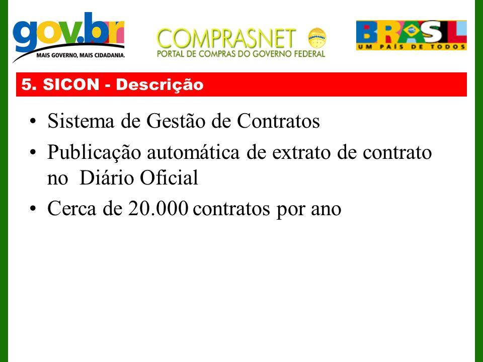 5. SICON - Descrição Sistema de Gestão de Contratos Publicação automática de extrato de contrato no Diário Oficial Cerca de 20.000 contratos por ano