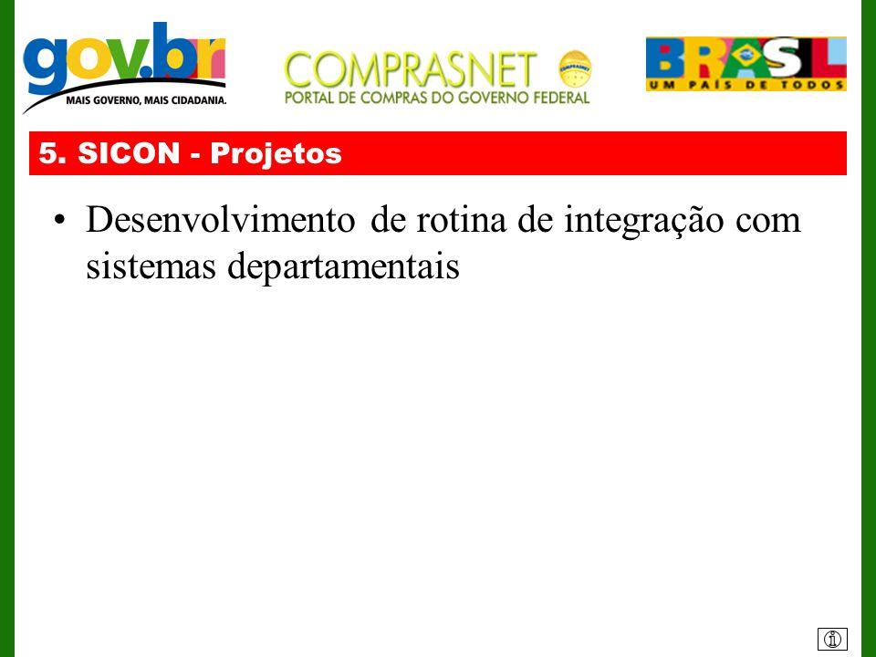 5. SICON - Projetos Desenvolvimento de rotina de integração com sistemas departamentais