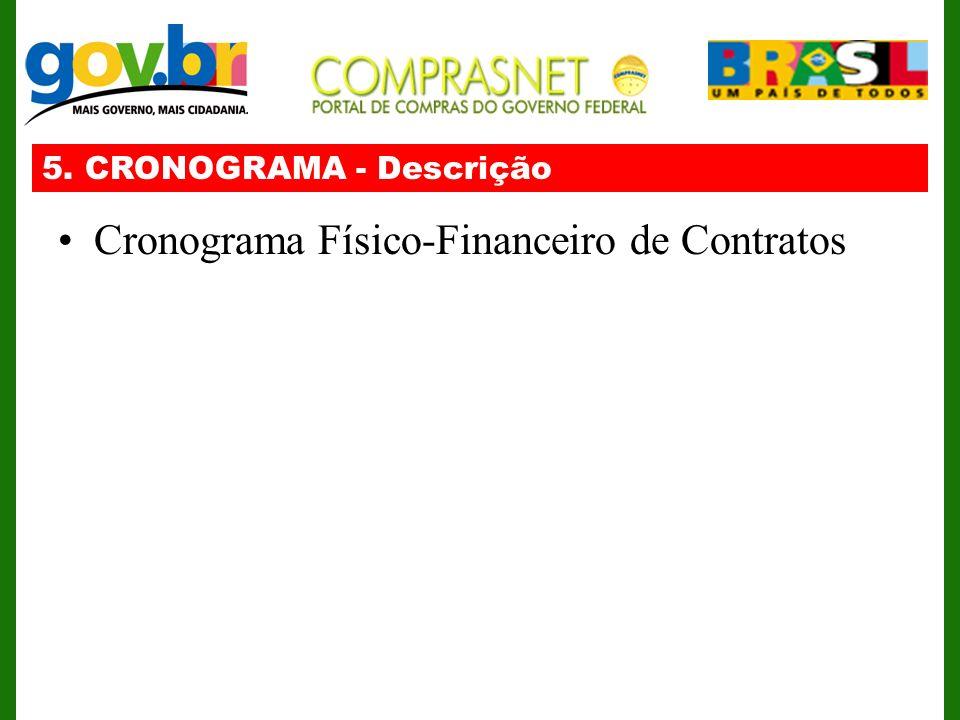 5. CRONOGRAMA - Descrição Cronograma Físico-Financeiro de Contratos
