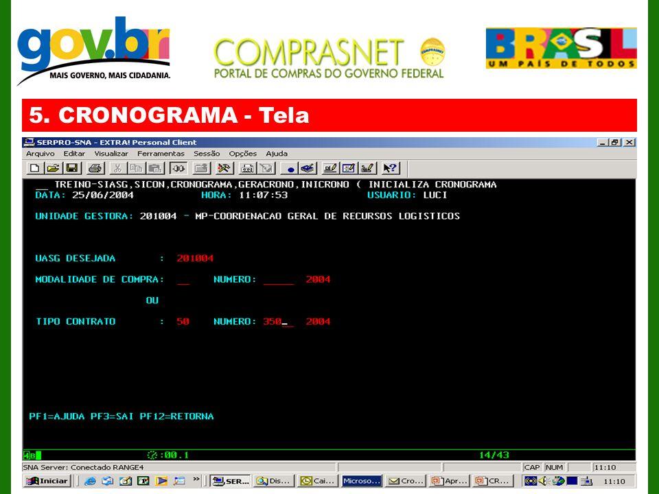 5. CRONOGRAMA - Tela