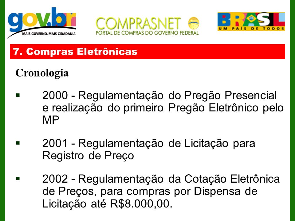 7. Compras Eletrônicas Cronologia 2000 - Regulamentação do Pregão Presencial e realização do primeiro Pregão Eletrônico pelo MP 2001 - Regulamentação