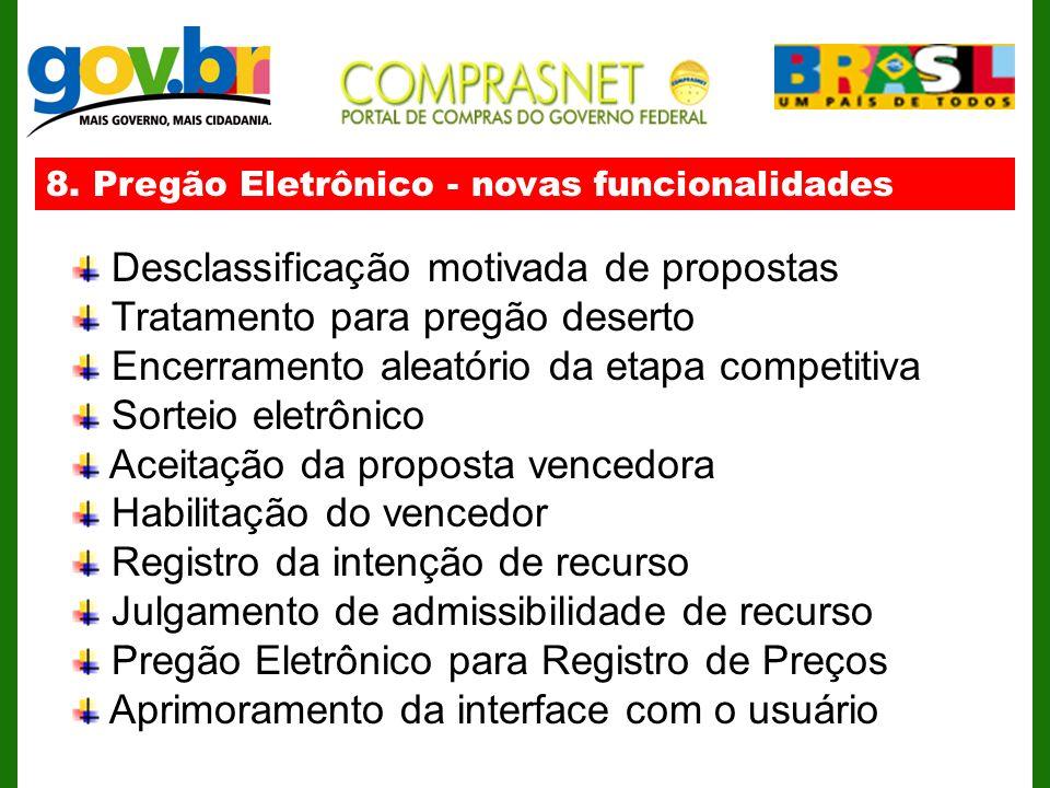 8. Pregão Eletrônico - novas funcionalidades Desclassificação motivada de propostas Tratamento para pregão deserto Encerramento aleatório da etapa com