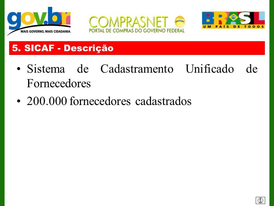 5. SICAF - Descrição Sistema de Cadastramento Unificado de Fornecedores 200.000 fornecedores cadastrados