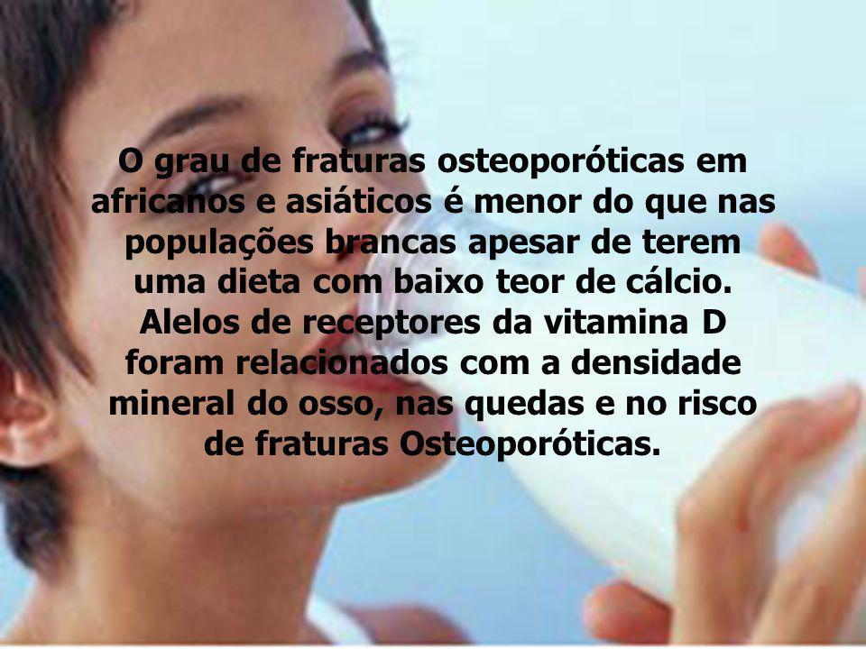 O grau de fraturas osteoporóticas em africanos e asiáticos é menor do que nas populações brancas apesar de terem uma dieta com baixo teor de cálcio.