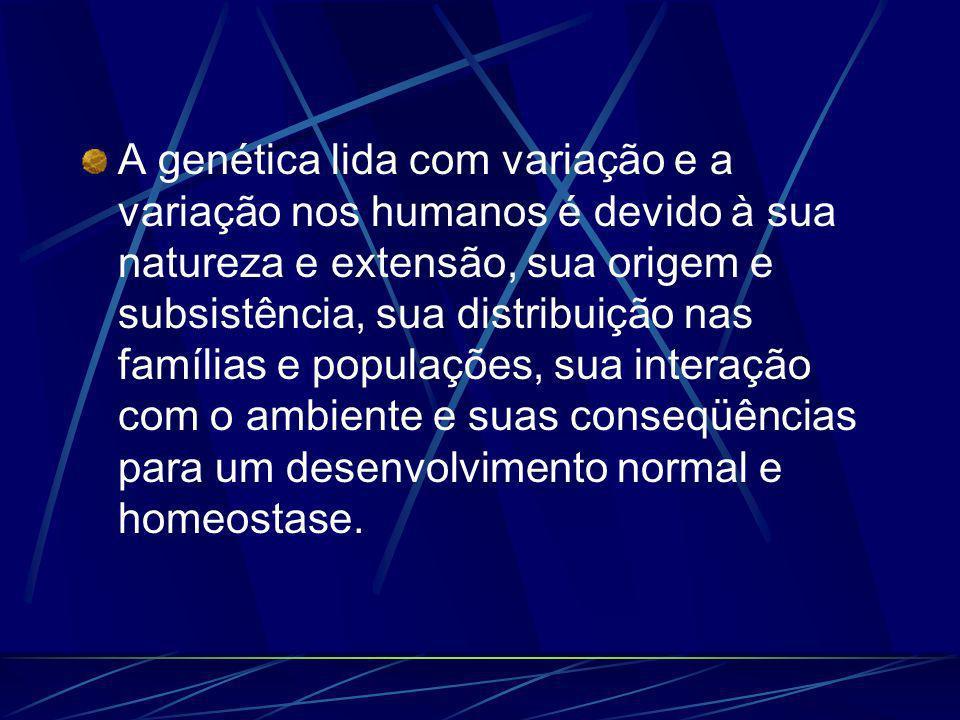 A genética lida com variação e a variação nos humanos é devido à sua natureza e extensão, sua origem e subsistência, sua distribuição nas famílias e populações, sua interação com o ambiente e suas conseqüências para um desenvolvimento normal e homeostase.