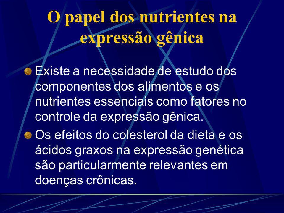 O papel dos nutrientes na expressão gênica Existe a necessidade de estudo dos componentes dos alimentos e os nutrientes essenciais como fatores no controle da expressão gênica.