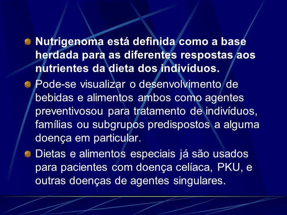 Nutrigenoma está definida como a base herdada para as diferentes respostas aos nutrientes da dieta dos indivíduos.
