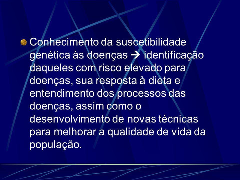 Conhecimento da suscetibilidade genética às doenças identificação daqueles com risco elevado para doenças, sua resposta à dieta e entendimento dos processos das doenças, assim como o desenvolvimento de novas técnicas para melhorar a qualidade de vida da população.