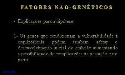Explicações para a hipótese: 1- Os genes que condicionam a vulnerabilidade à esquizofrenia podem também afetar o desenvolvimento inicial do embrião au