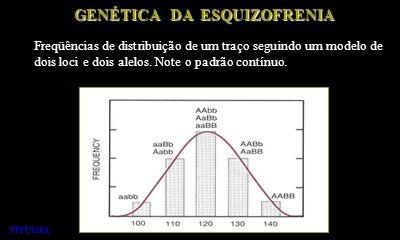 GENÉTICA DA ESQUIZOFRENIA Freqüências de distribuição de um traço seguindo um modelo de dois loci e dois alelos. Note o padrão contínuo. FFFCMPA
