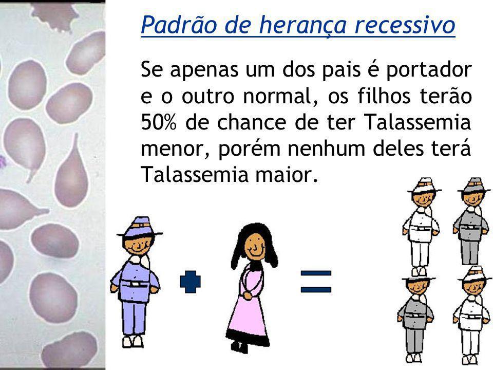Se apenas um dos pais é portador e o outro normal, os filhos terão 50% de chance de ter Talassemia menor, porém nenhum deles terá Talassemia maior.