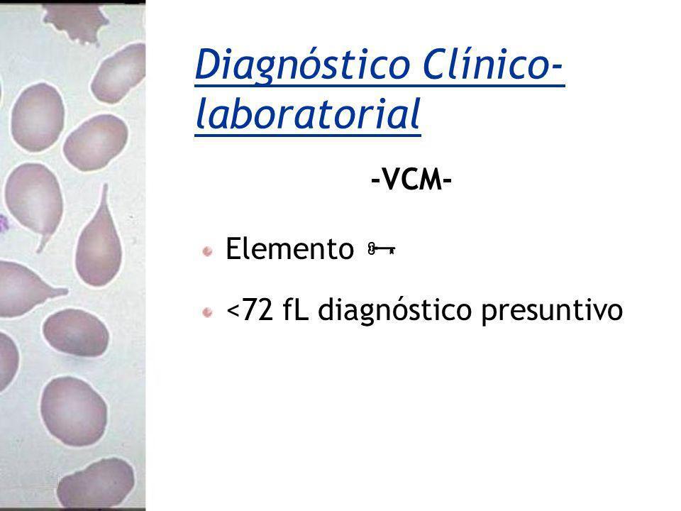 -VCM- Elemento <72 fL diagnóstico presuntivo Diagnóstico Clínico- laboratorial