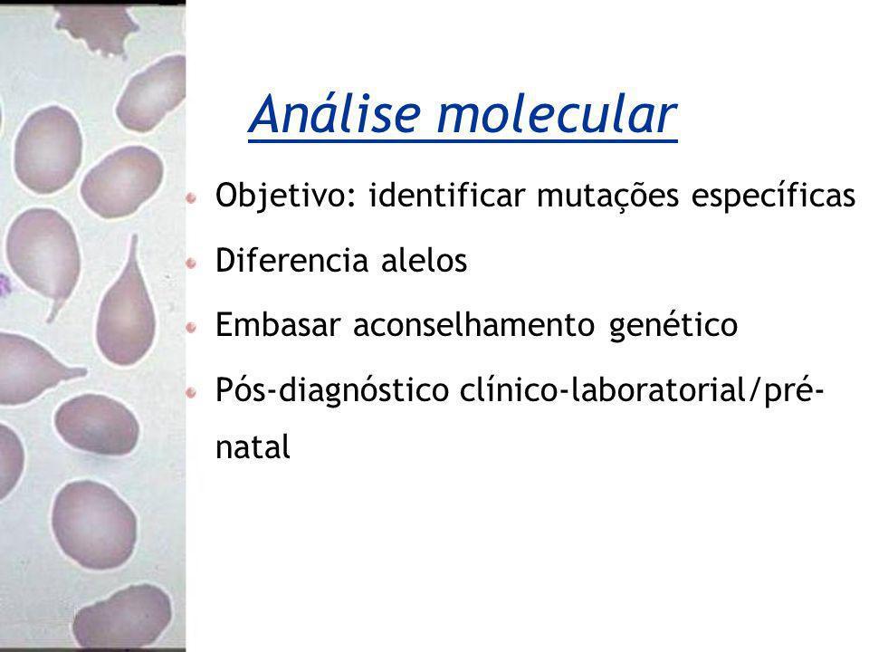 Análise molecular Objetivo: identificar mutações específicas Diferencia alelos Embasar aconselhamento genético Pós-diagnóstico clínico-laboratorial/pr