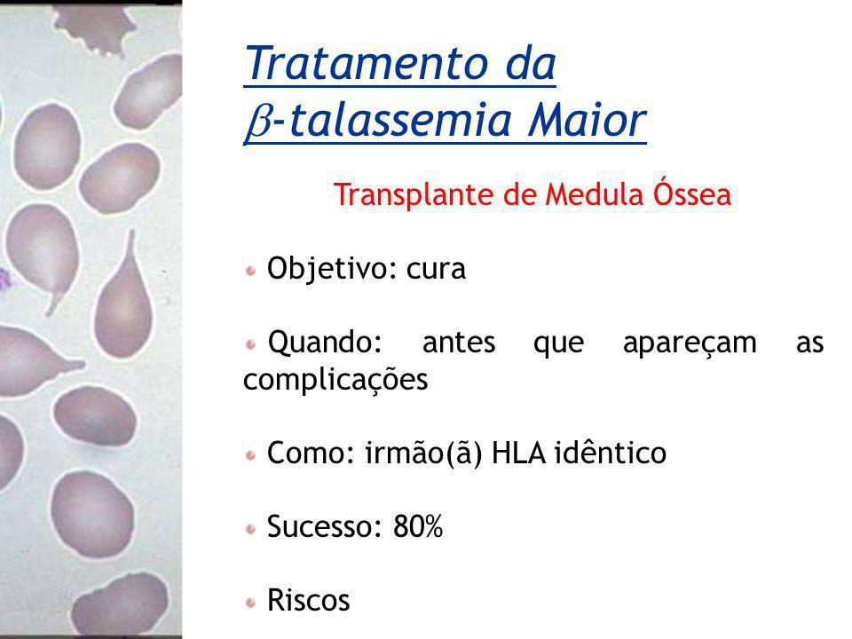 Transplante de Medula Óssea Objetivo: cura Quando: antes que apareçam as complicações Como: irmão(ã) HLA idêntico Sucesso: 80% Riscos Tratamento da -t