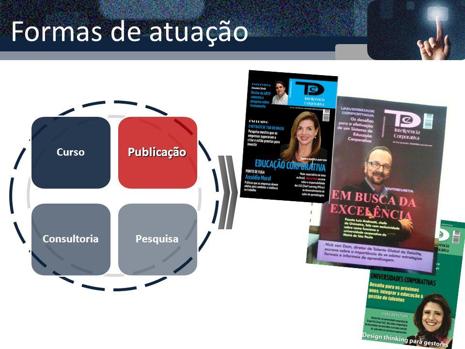 Formas de atuação CursoPublicação ConsultoriaPesquisa Elaboração de relatório com estudo dos dados levantados
