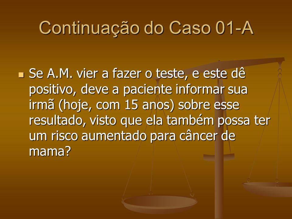 Continuação do Caso 01-A Se A.M. vier a fazer o teste, e este dê positivo, deve a paciente informar sua irmã (hoje, com 15 anos) sobre esse resultado,