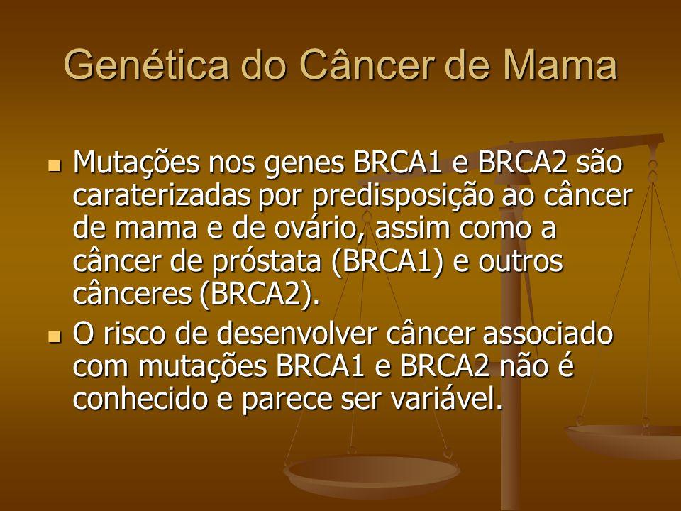 Genética do Câncer de Mama Mutações nos genes BRCA1 e BRCA2 são caraterizadas por predisposição ao câncer de mama e de ovário, assim como a câncer de