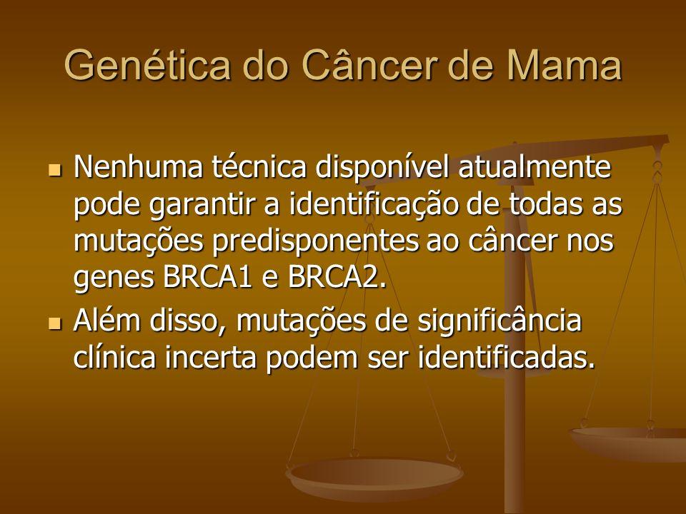 Genética do Câncer de Mama Nenhuma técnica disponível atualmente pode garantir a identificação de todas as mutações predisponentes ao câncer nos genes
