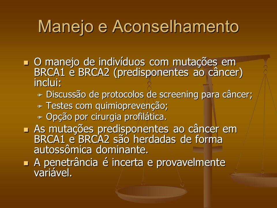 Manejo e Aconselhamento O manejo de indivíduos com mutações em BRCA1 e BRCA2 (predisponentes ao câncer) inclui: O manejo de indivíduos com mutações em