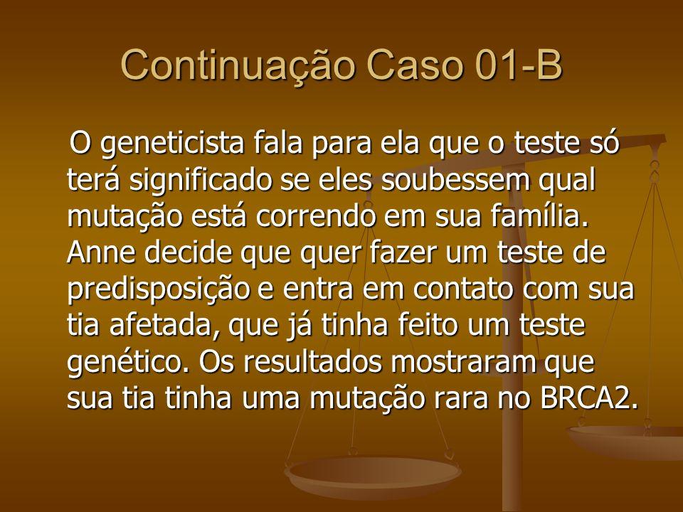 Continuação Caso 01-B O geneticista fala para ela que o teste só terá significado se eles soubessem qual mutação está correndo em sua família. Anne de