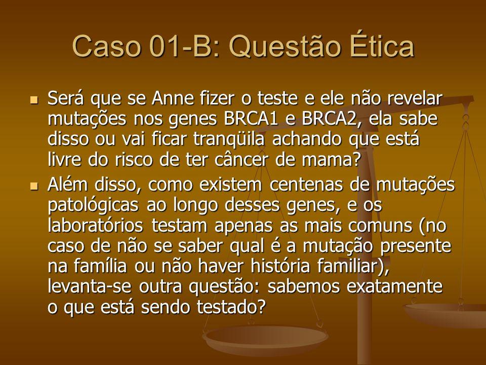 Caso 01-B: Questão Ética Será que se Anne fizer o teste e ele não revelar mutações nos genes BRCA1 e BRCA2, ela sabe disso ou vai ficar tranqüila acha