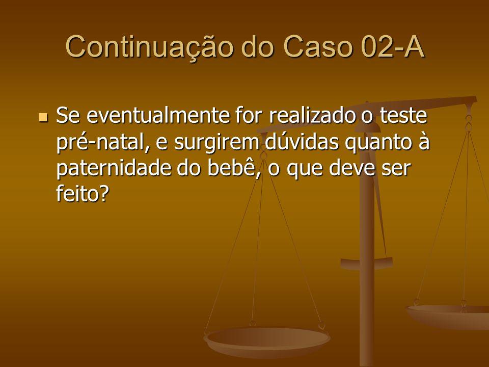 Continuação do Caso 02-A Se eventualmente for realizado o teste pré-natal, e surgirem dúvidas quanto à paternidade do bebê, o que deve ser feito? Se e
