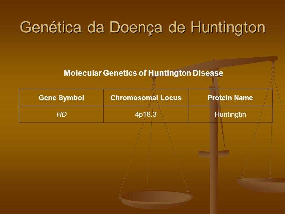 Genética da Doença de Huntington Molecular Genetics of Huntington Disease Gene SymbolChromosomal LocusProtein Name HD4p16.3Huntingtin