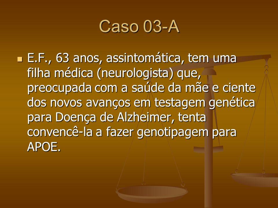 Caso 03-A E.F., 63 anos, assintomática, tem uma filha médica (neurologista) que, preocupada com a saúde da mãe e ciente dos novos avanços em testagem