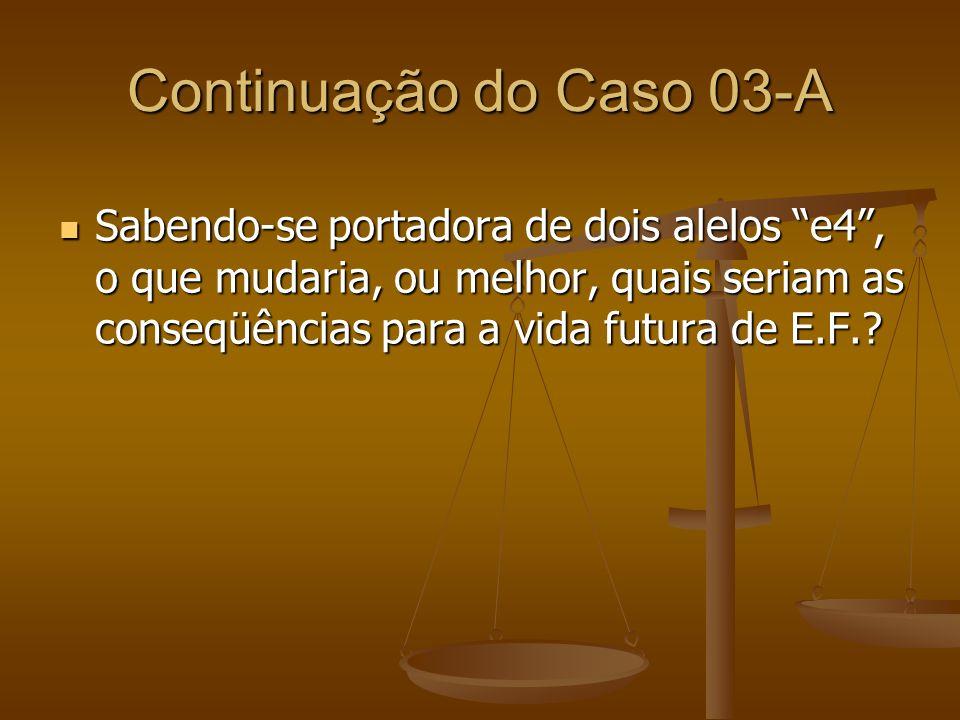 Continuação do Caso 03-A Sabendo-se portadora de dois alelos e4, o que mudaria, ou melhor, quais seriam as conseqüências para a vida futura de E.F.? S