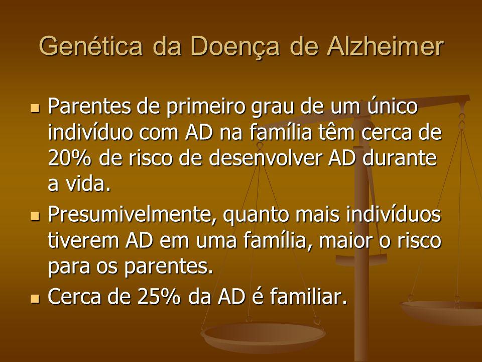 Genética da Doença de Alzheimer Parentes de primeiro grau de um único indivíduo com AD na família têm cerca de 20% de risco de desenvolver AD durante